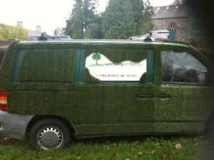 One of our vans covered in artificial grass