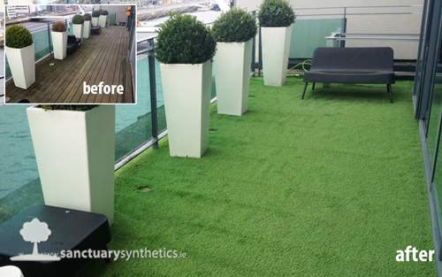Artificial grass for rooftops and balconies