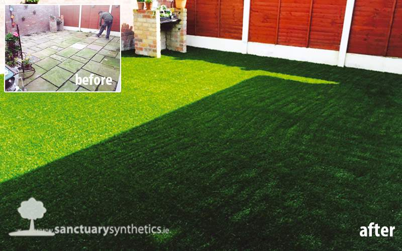 Artificial grass over patio