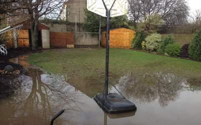 Waterlogged Garden Grass (before)