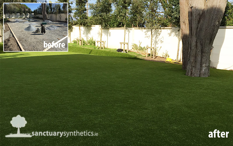 Back garden synthetic grass lawn