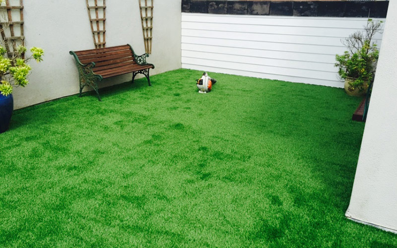 Artificial grass over old decking yes for Garden decking kildare