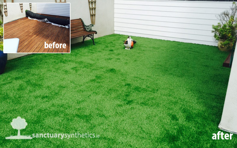 Artificial grass over old decking