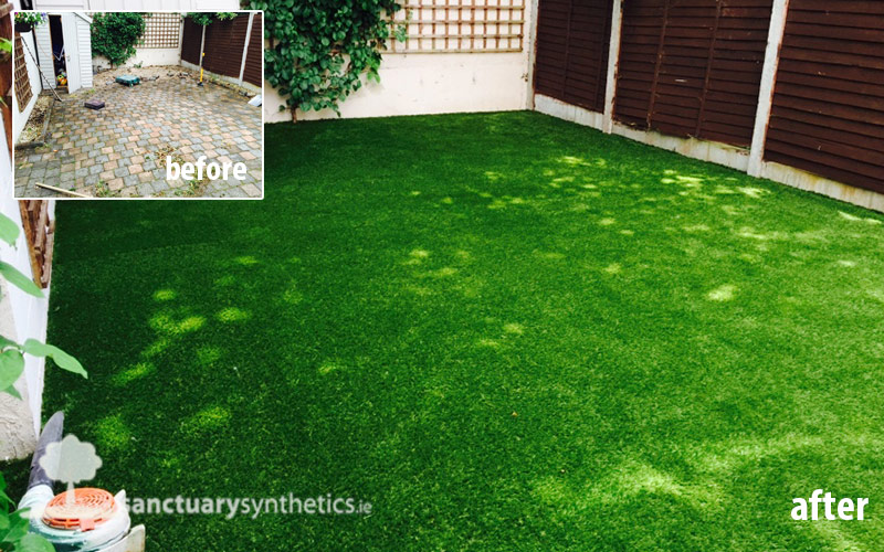 Artificial garden grass over cobblelock - Ireland