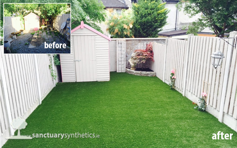 Back garden artificial grass lawn
