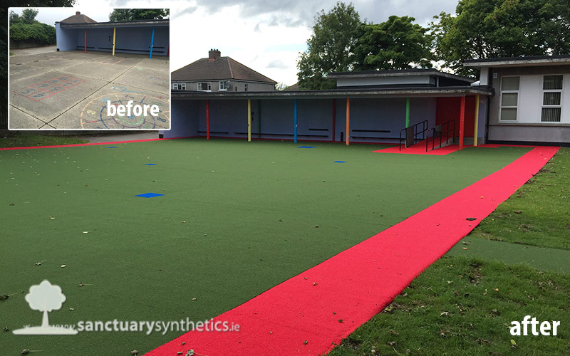 School playground fake grass St Brigids Killester