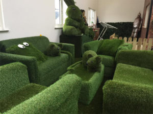 Some of the fake grass props in our reception