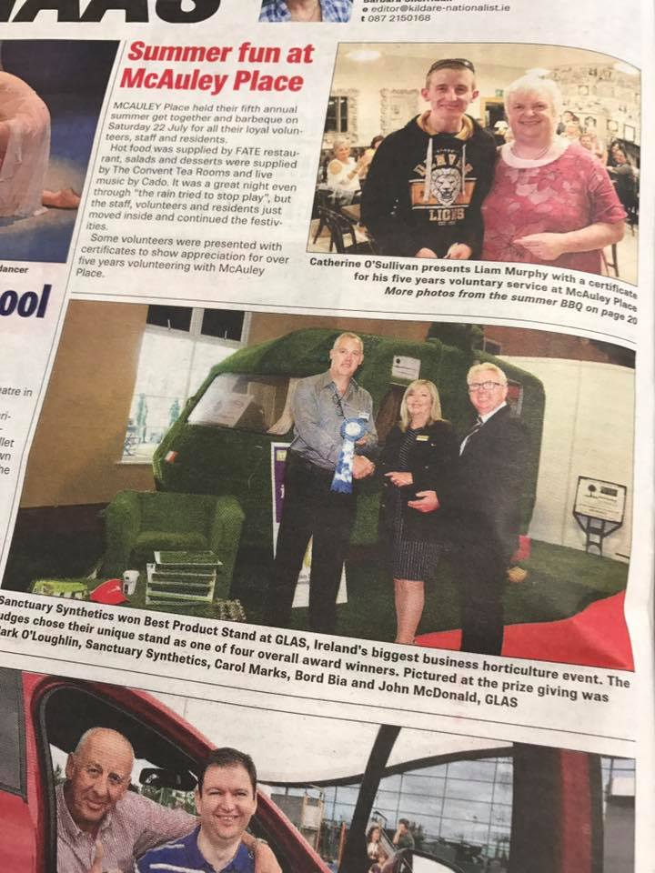 Kildare Nationalist coverage of Sanctuary Glas award July 2017