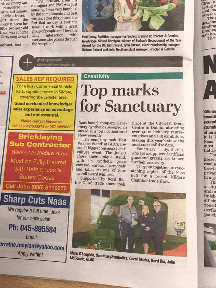 Leinster Leader coverage of Sanctuary Glas award July 2017