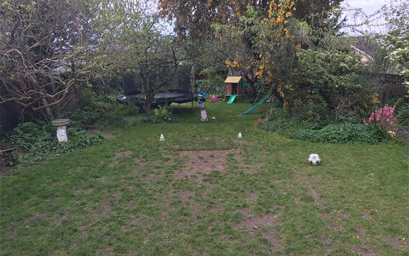 Artificial grass lawn for large family garden in Dublin - BEFORE