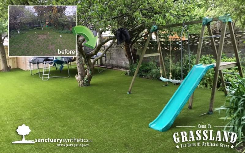 Artificial grass for large family garden in Dublin