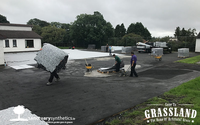 Working on Artificial grass playground - Tubbercuury NS Galway