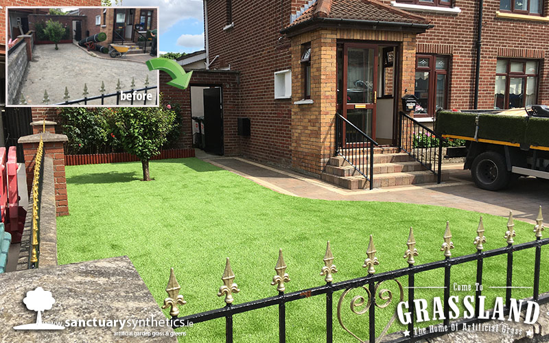 County Dublin Front Garden With Artificial Grass