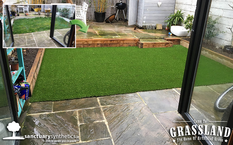 Bright and beautiful artificial grass lawn.