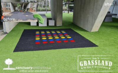 Custom Artificial Grass Design in Apartment Complex