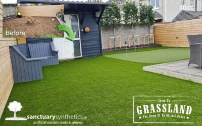 Local garden transformation with a putting green.